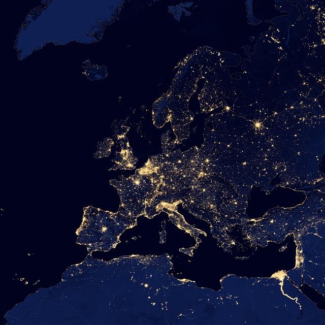 Europe illuminée de nuit