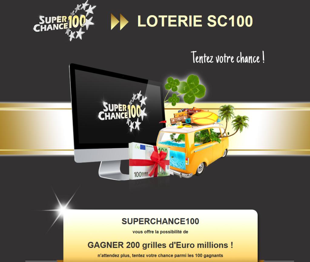 Capture d'écran du jeu concours Superchance100.