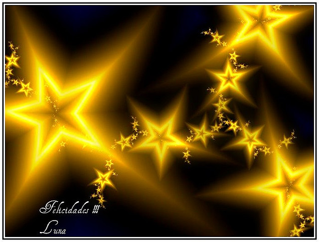 Des étoiles jaune sur un fond foncé.