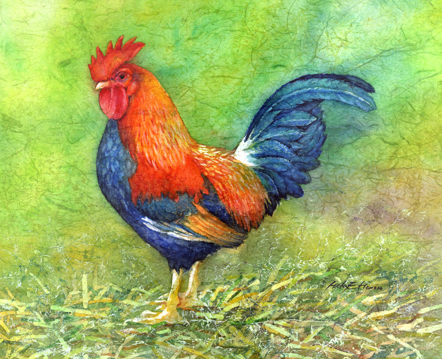 Illustration d'un coq sur fond vert.