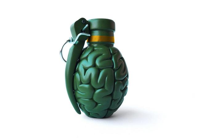 Photographie d'une fausse grenade en forme de cerveau.
