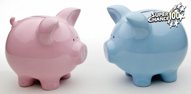 Photographie de deux cochons-tirelires respectivement rose et bleu.
