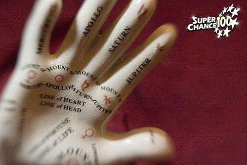 Photographie d'une main en plâtre d'apprentissage de la chiromancie.