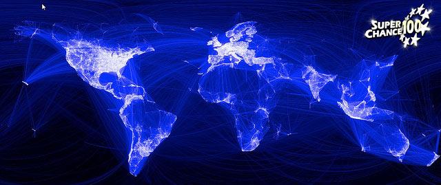 Photographie d'une carte représentant le mouvement des populations.