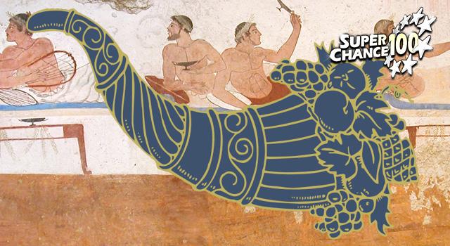 Montage représentant la corne d'abondance sur une fresque grecque.
