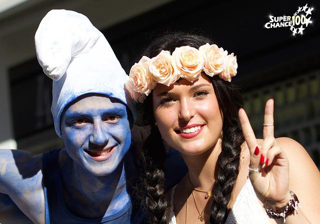Un homme et une femme déguisés qui font le signe de la victoire.