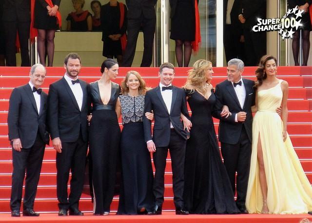 L'équipe du film Money Monster à Cannes avec le président du jury Pierre Lescure.