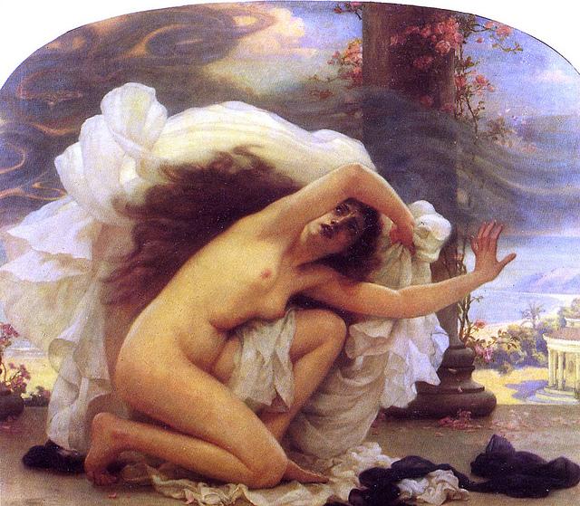Peinture d'Ernest Normand, Pandore, où la femme se protège des maux échappés.