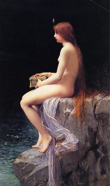 Peinture de Lefebvre, La boîte de Pandore, où l'on voit Pandore assise sur un rocher au-dessus de l'eau, la boîte dans les mains.