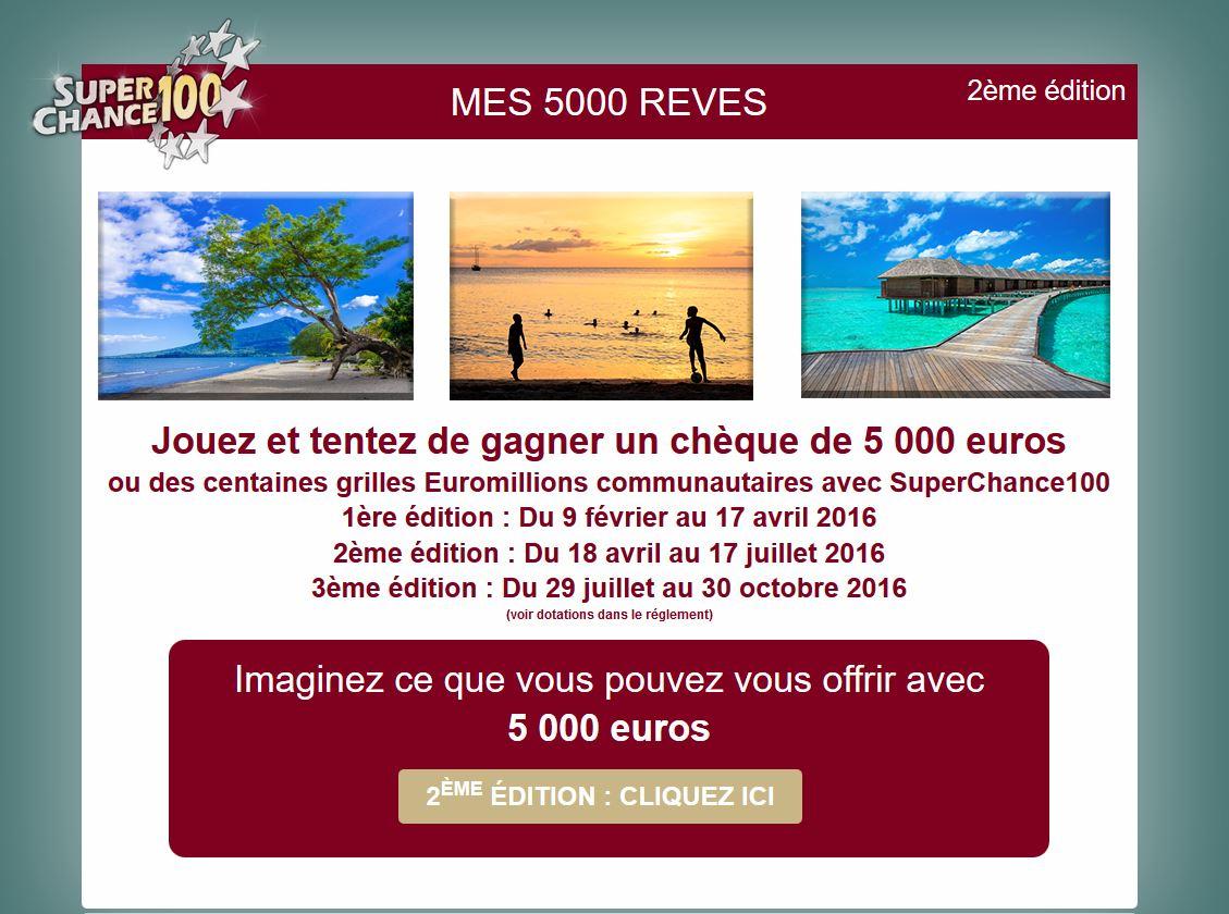 Page d'accueil du tirage au sort mes5000reves.fr
