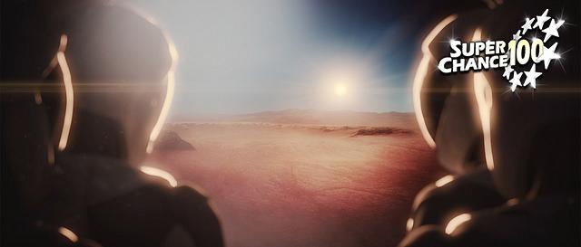 Montage numérique présentant deux astronautes découvrant le sol martien.