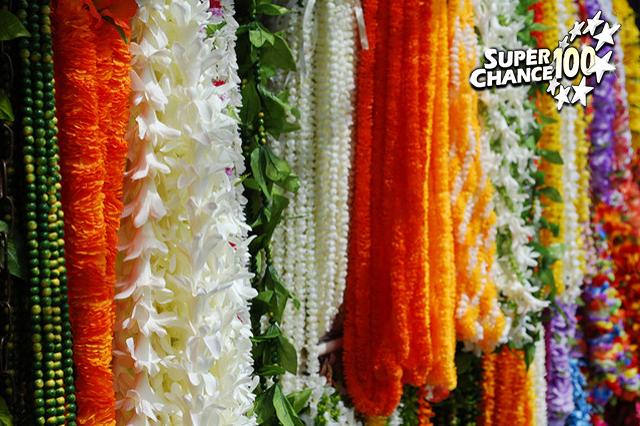 Exposition d'une centaine de colliers de fleurs suspendus.