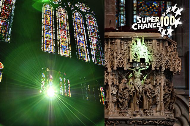 Photomontage sur le rayon vert de la cathédrale de Strasbourg.