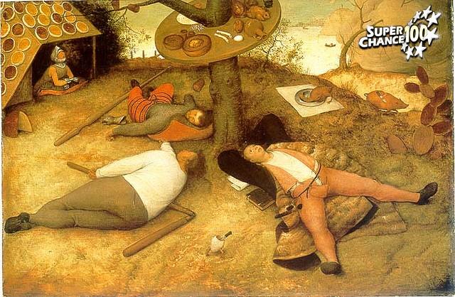 Peinture de Pieter Brueghel l'Ancien, le Pays de Cocagne.