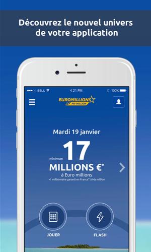 Aperçu de l'application mobile officielle de l'Euro Millions.