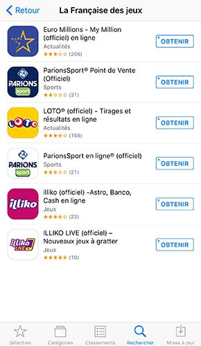 Aperçu des applications mobiles de la FDJ sur l'App Store.