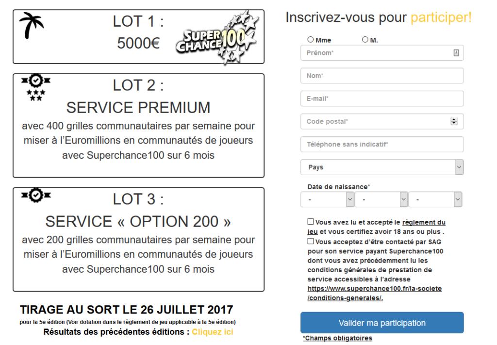 Page d'inscription au jeu sans obligation d'achat Mes5000reves par SuperChance100.