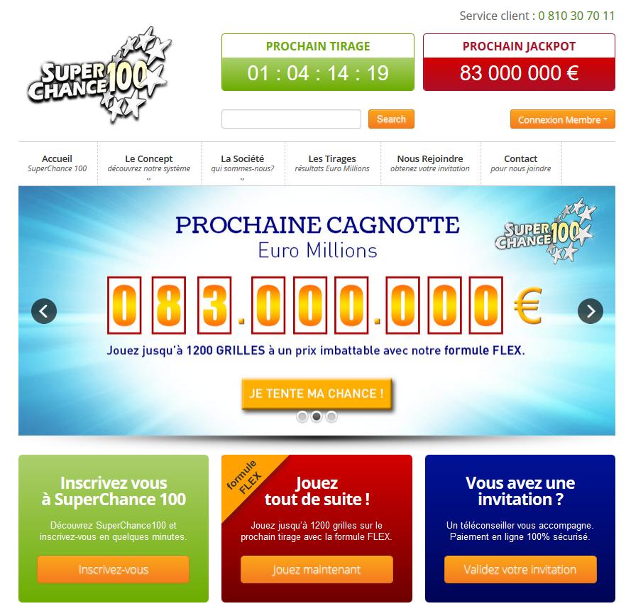 Page d'accueil de superchance100.fr