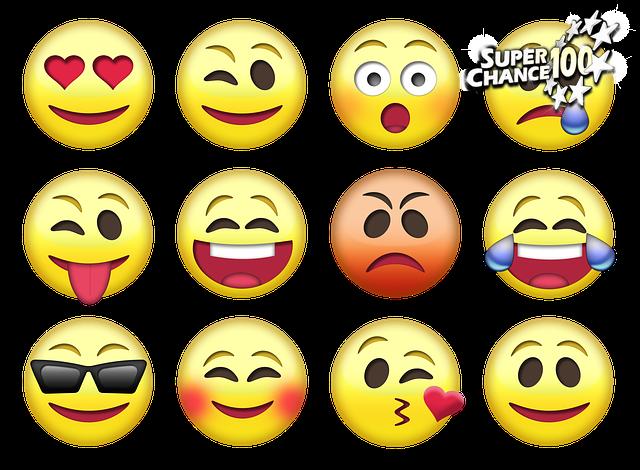 12 émojis correspondants aux différentes humeurs