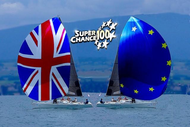 Deux bateaux prenant des directions opposées symbolisant la sortie du Royaume-Uni de l'Union européenne