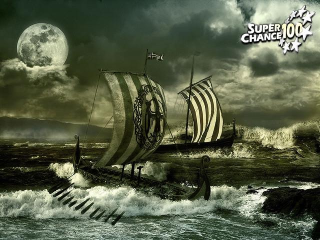 bateau drakkar de viking avec le logo SuperChance100