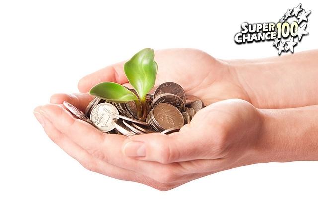 mains tendues contenant de l'argent et une pousse de plante