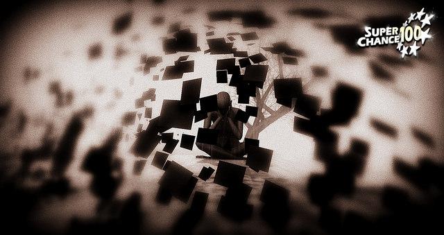 Homme assit par terre au milieu de papiers volants