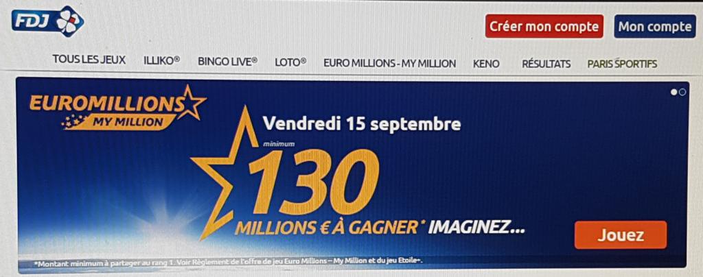 Publicité pour le super jackpot EuroMillions de 130 millions d'euros le 15 septembre 2017.