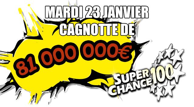Cagnotte de l'Euro Millions du mardi 23 janvier 2018.