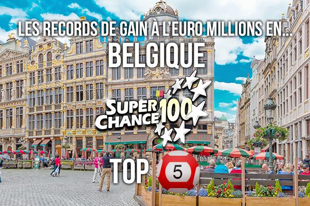 Top 5 des cagnottes de l'Euro Millions en Belgique.