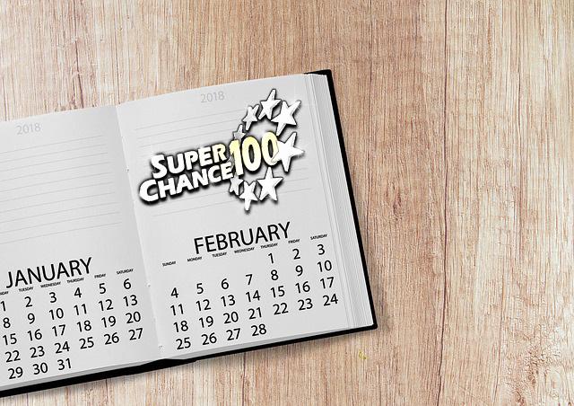 Calendrier du mois de février pour voir qui sont les gagnants de l'Euro Millions.