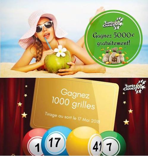 Les jeux de SuperChance100 pour gagner des grilles d'EuroMillions.