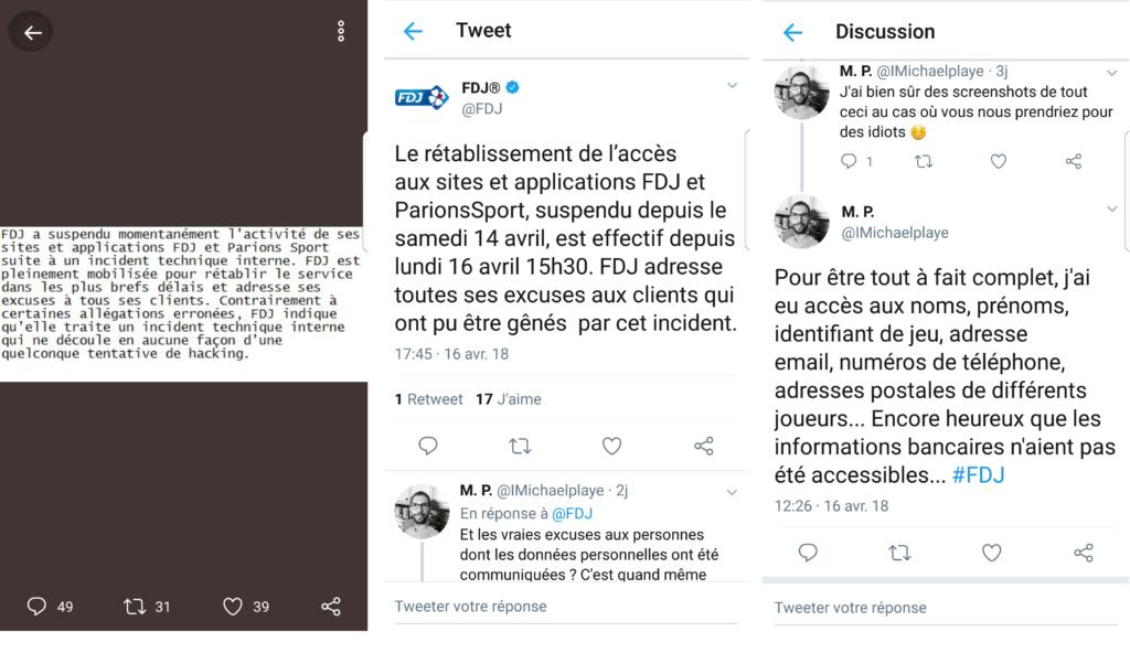 Communiqués de la FDJ à propos du bug du vendredi 13 et les réactions d'un utilisateur.