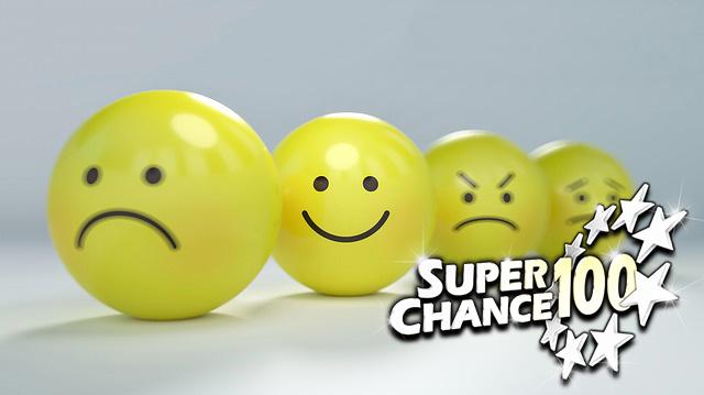 Smileys représentant différentes émotions, dont la joie.