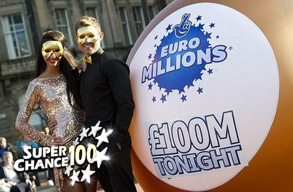 Une femme et un homme masqués posant à côté d'un grand ballon rappelant le jackpot de £100M.