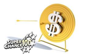 Flèche au milieu d'une cible sur laquelle se trouve le signe dollar.
