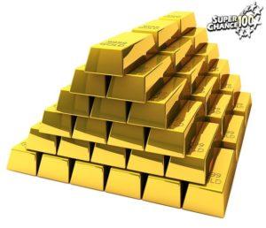 Une pyramide de lingots d'or.