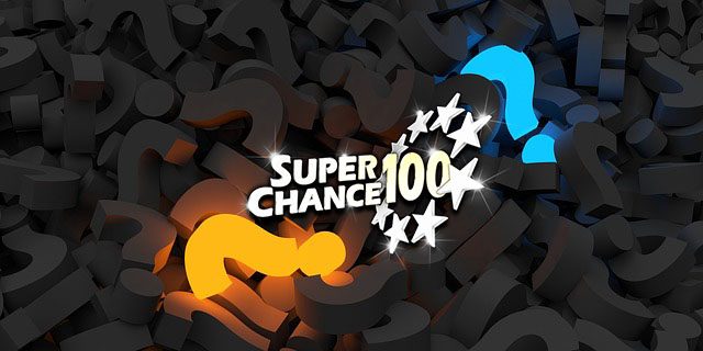 Points d'interrogation autour du logo de SuperChance100.